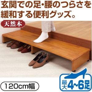 踏み台/収納付き玄関台 【120cm幅】 木製(天然木) アジャスター付き