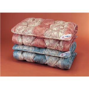敷布団 【シングル】/英国羊毛(ステッキマークゴールドラベル)中央増量敷き布団 ブルー(青) (抗菌防臭加工)