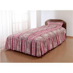 やわらかフェザーフリル付きベッド布団シングルピンク(枕カバー付き)
