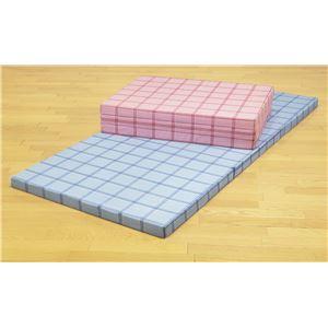 腰を支える3つ折れ格子柄バランスマットレス セミダブル ピンク