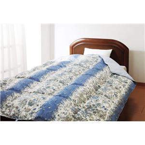 【京都西川】洗える羽毛肌掛布団ブルー150×210cm (サラサ)