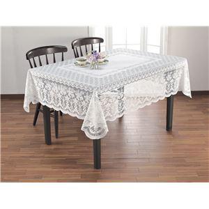 撥水加工レーステーブルクロスホワイト 140×140cm 正方形