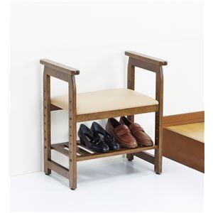 楽々立ち上がり玄関ベンチ/スツール 木製 合成皮革(合皮) 高さ4段階調節可 収納棚/肘付き