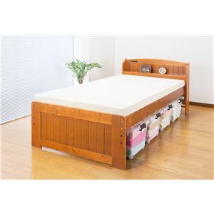 天然木棚付すのこベッド(高さ調節付) シングル