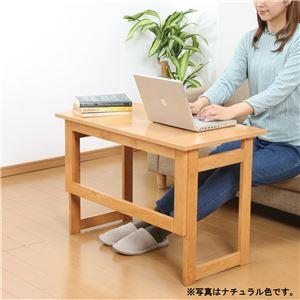 天然木折りたたみテーブル高さ55cm ブラウン