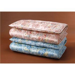 【ブルー単品】ボリューム羊毛4層式敷布団 ダブル 防ダニ・防臭・抗菌加工