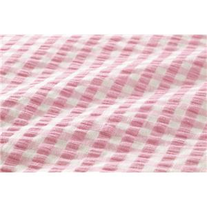 先染め綿サッカーボックスシーツ 同色2枚ピンク セミダブル