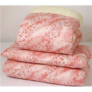 綿混合掛布団軽量敷布団セットピンク系 国産和仕立て