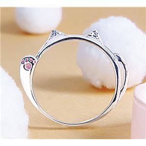 ダイヤモンド招き猫リング/指輪 【7号】 シルバー925 ダイヤモンド約0.02ct 日本製