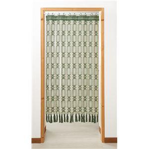 開閉式マクラメのれん 【グリーン 幅85cm×長さ150cm】 日本製 綿100% スチール製 伸縮ポール付き 〔廊下 玄関〕