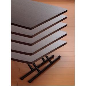 NEW木製昇降式フリーテーブルブラウン