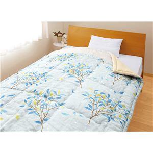 メキシコ綿入り 肌掛け布団 【ひより ブルー】 シングル 日本製 綿100% 〔ベッドルーム 寝室〕