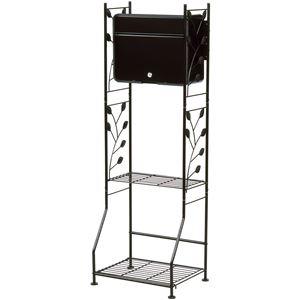 ガーデンポスト&スタンドセット 【ブラック】 幅42.5cm A4サイズ対応 スチール 棚板2枚 脚付き 〔玄関 入口〕