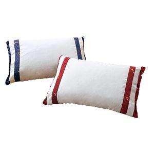そば殻&ヒノキ 和枕/寝具 【エンジ+ブルー 2色組】 日本製 低めタイプ カバー付き 通気性 綿使用 〔ベッドルーム 寝室〕
