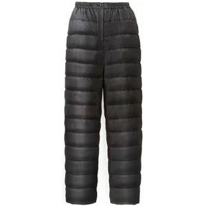 ふわふわダウン あったかパンツ 【ブラック S-M】 男女兼用タイプ 両脇ポケット付き 洗える 〔防寒着 冬支度 寒さ対策〕