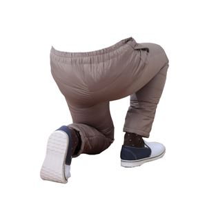 ふわふわダウン あったかパンツ 【ライトブラウン L-LL】 男女兼用タイプ 両脇ポケット付き 洗える 〔防寒着 冬支度 寒さ対策〕