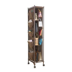 バッグ収納ラック/鞄収納棚 【2列 ブラウン】 幅30cm カーテンカバー・ポケット・キャスター付き
