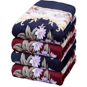 遠赤綿入り ボリュームマイヤー毛布/寝具 【2色4枚組】 3層構造