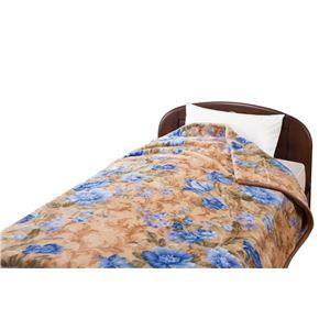 衿付き2枚合わせ毛布(ヤード柄) ブルー 140×200cm <京都西川>