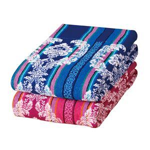 多色使いタオルケット 2色組 シングル ピンク&ブルー 今治ブランド付き