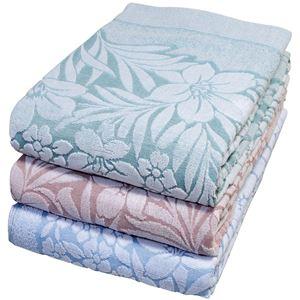 今治産ジャガード織タオルケット3色組(ゆり柄)ブルー・ピンク・グリーン 140×190cm