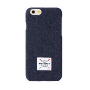 iPhone6 Plus  iPhone6S Plus  カバーデニム生地 スマホケaース DESIGNSKIN DENIM BAR TYPE  (DARK BLUE)
