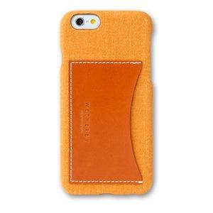 iPhone6 Plusケース iPhone6S Plus カバー WETHERBY CANVAS BAR TYPE-POCKET カードポケット付き ケース (POCKET/YELLOW)