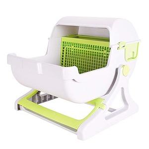 Sun Ruck 半自動猫用トイレ 猫トイレ キャットトイレ 固まる猫砂用 SR-ACT01-GR グリーン