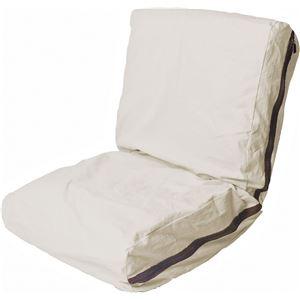 帆布ソファ(リクライニングチェア/フロアチェア) 低反発 座面高17cm 『HANPU』 洗えるカバー アイボリー