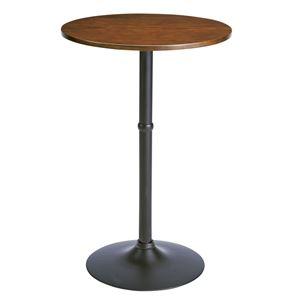 木目調ハイテーブル/カウンターテーブル 【丸型】 直径60cm×高さ90cm スチールフレーム ブラウン