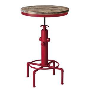 シンプル バーテーブル/カウンターテーブル 【直径60cm レッド】 天板昇降式 天然木・スチール 『インダストリアルシリーズ』