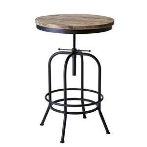 円形バーテーブル/カウンターテーブル 【直径60cm】 天板昇降式 天然木・スチール 木目調 『インダストリアルシリーズ』