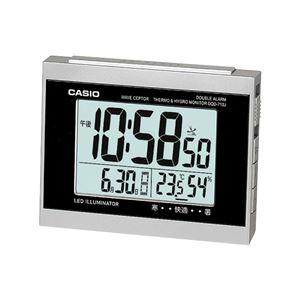 温度・湿度計付き電波置き時計(置時計/卓上時計) ダブルアラーム/スヌーズ機能/LEDライト付き DQD-710J-8JF