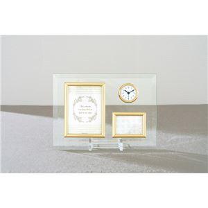 時計付ガラスフォトフレーム KG-8989