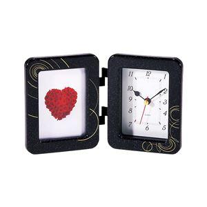 フォトフレーム時計付き時計(置時計) ブラック(黒) 1281