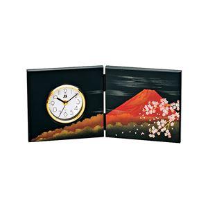 屏風時計(置時計/卓上時計) 富士さくら柄 アナログ 化粧箱入り M14326