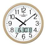 【CASIO カシオ】 大型電波掛け時計 【アナログ表示】 プログラム時報機能付デュアルタイム表示