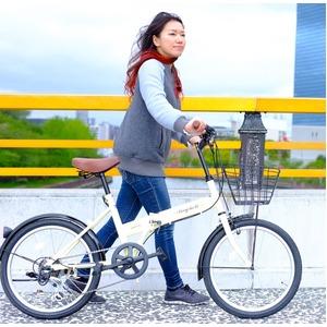 折りたたみ自転車 20インチ/アイボリー シマノ6段変速 【Raychell】 レイチェルFB-206R