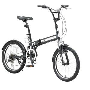 折りたたみ自転車 20インチ/マットブラック(黒) シマノ6段変速 【HUMMER】 ハマー FDB206 W-sus