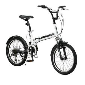 折りたたみ自転車 20インチ/ホワイト(白) シマノ6段変速 【HUMMER】 ハマー FDB206 W-sus