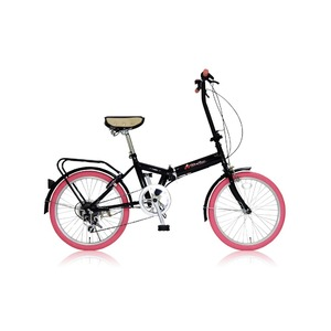 折りたたみ自転車 20インチ/ピンク シマノ6段変速 【MIWA】 ミワ FD1B-206