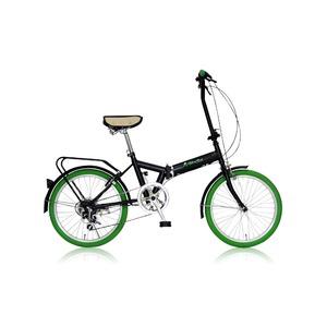 折りたたみ自転車 20インチ/グリーン(緑) シマノ6段変速 【MIWA】 ミワ FD1B-206