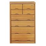 6段チェスト(サイドボード) 【幅64cm】 木製(天然木) 鍵付き ナチュラル 【完成品】