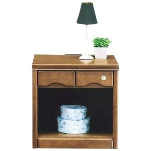 オープンナイトテーブル(サイドテーブル) 【幅50cm】 木製(天然木) コンセント付き/鍵付き ブラウン 【完成品】