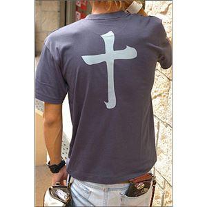 戦国武将Tシャツ 【島津義弘 十文字】 Sサイズ 半袖 綿100% 藍鉄 〔Uネック おもしろ〕