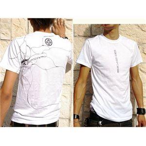 戦国武将Tシャツ 【本多忠勝 蜻蛉切】 Sサイズ 半袖 ホワイト(白) 〔Uネック おもしろ〕
