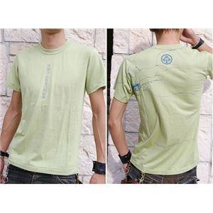 戦国武将Tシャツ 【本多忠勝 蜻蛉切】 XLサイズ 半袖 わさび色(グリーン) 〔メンズ 大きいサイズ Uネック おもしろ〕