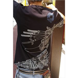 戦国武将Tシャツ 【加藤清正】 XSサイズ 半袖 綿100% ブラック(黒) 〔Uネック おもしろ〕