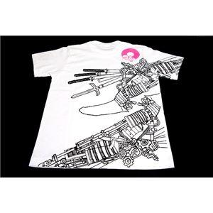 戦国武将Tシャツ 【加藤清正】 XLサイズ 半袖 綿100% ホワイト(白) 〔メンズ 大きいサイズ Uネック おもしろ〕