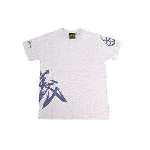 戦国武将Tシャツ 【直江兼続 義】 XLサイズ 半袖 綿100% 白杢(ホワイト) 〔メンズ 大きいサイズ Uネック おもしろ〕